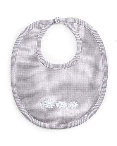 Baby Elephants Reversible Pima Bib, Gray/White