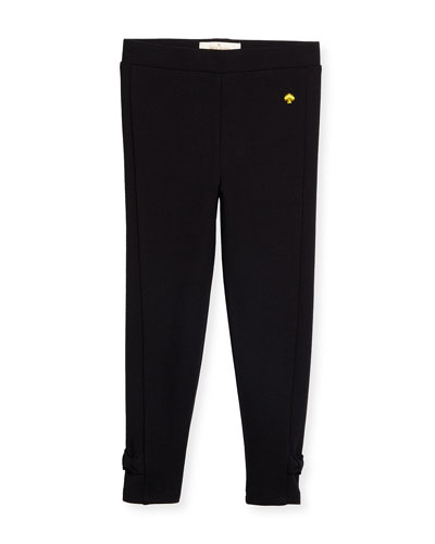 jamie bow-trim leggings, black, size 2-6