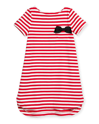 lena striped jersey dress, red/white, size 2-6