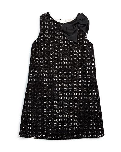 sleeveless guipure-lace shift dress, black/cream, size 2-6