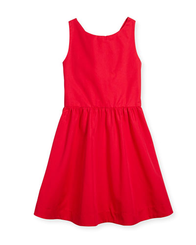 tanner twill a-line dress, red, size 7-14