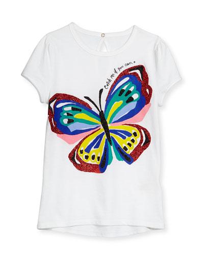 brushstroke butterfly jersey tee, white, size s-xl