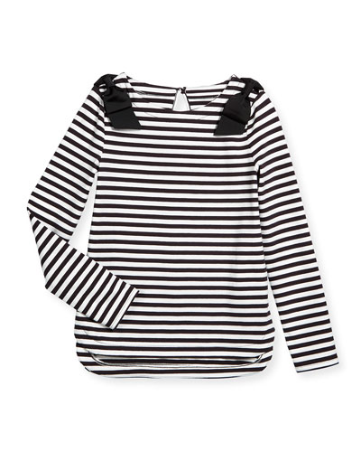 striped lena long-sleeve tee, black/cream, size s-xl