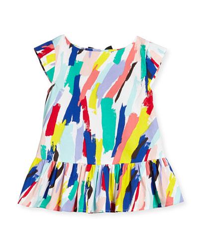 peplum brushstroke top, white/multicolor, size s-xl