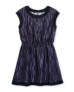 Chiffon-Overlay A-Line Dress, Coastal, Size S-XL
