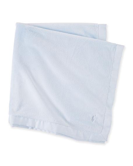 Ralph Lauren ChildrenswearPlush Grosgrain-Edge Baby Blanket, Blue