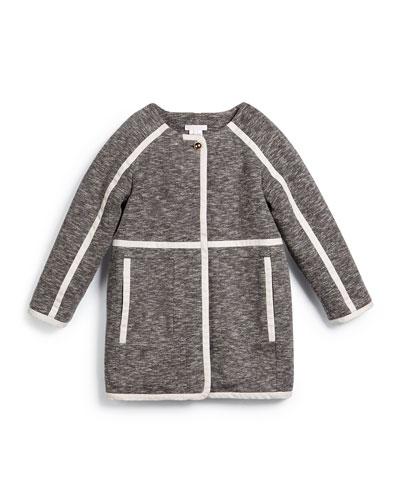 Twill-Trim Jersey-Knit Coat, Gray, Size 4-8