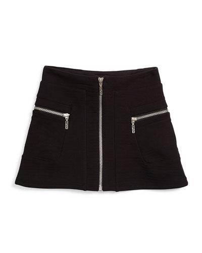 Zip-Trim A-Line Ponte Skirt, Black, Size 6Y-10Y