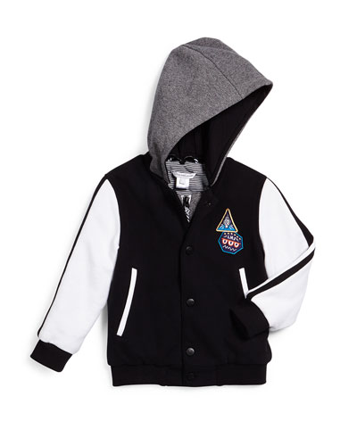 Hooded Colorblock Varsity Jacket, Black/White, Size 4-12