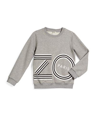 Logo-Script Pullover Sweatshirt, Gray, Size 6-10