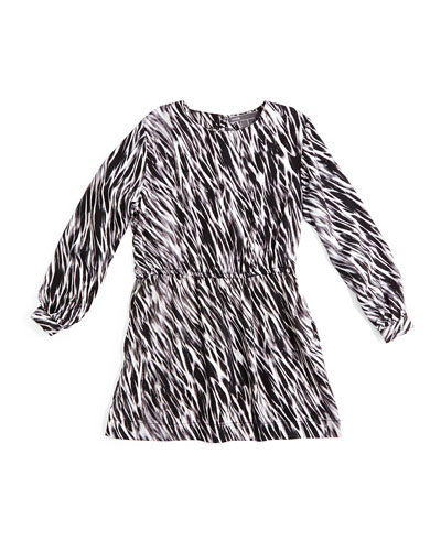 Long-Sleeve Printed Dress, Black/White, Size 2-6