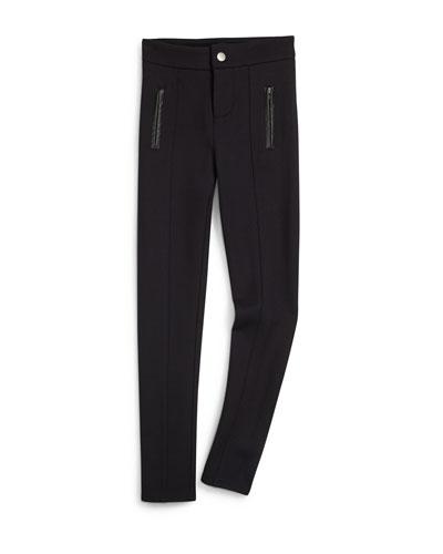 Faux-Leather-Trim Ponte Ski Pants, Black, Size 7-14