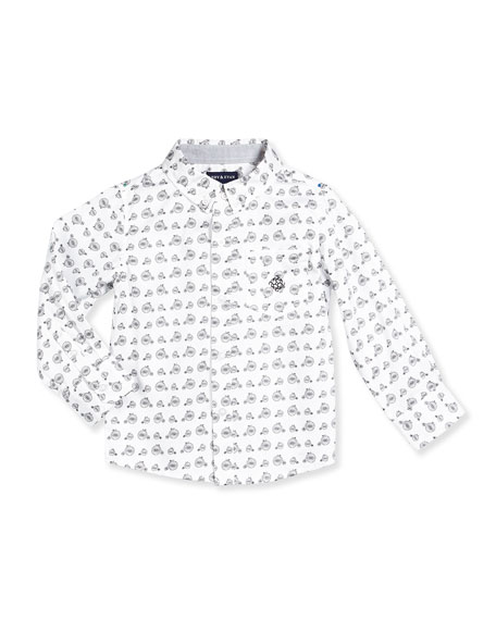 Andy & Evan Long-Sleeve Cotton Bicycle-Print Shirt, White,