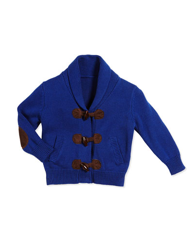 Shawl-Collar Toggle-Front Cardigan, Blue, Size 2T-7Y