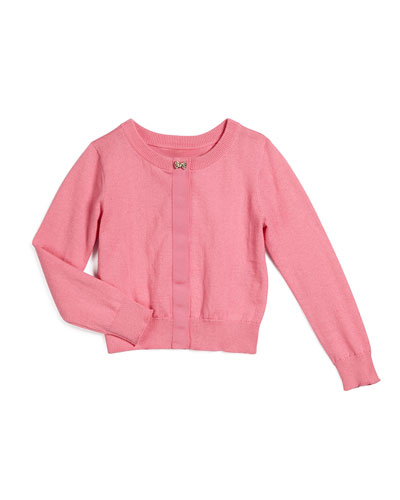 afton button-front cardigan, pink, size 2-6