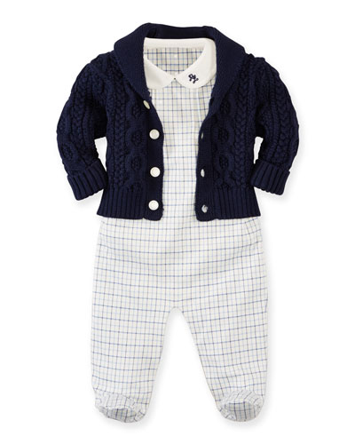 Cable-Knit Sweater, Plaid Overall & Bodysuit Set, Warm White/Blue, Size 3-9 Months