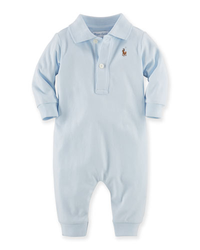 Pima Polo Coverall, Blue, Size 3-12 Months