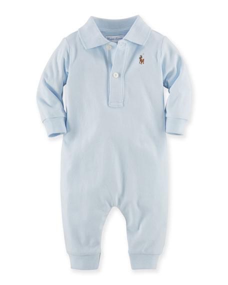 Ralph Lauren Childrenswear Pima Polo Coverall, Blue, Size
