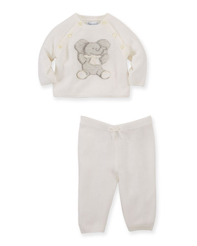 Elephant-Intarsia Cashmere Sweater & Pants, Warm White, Size 3-12 Months