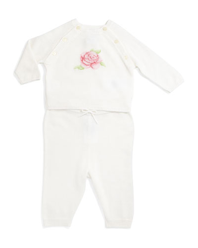 Rose-Intarsia Cashmere Sweater & Pants, White, Size 3-12 Months