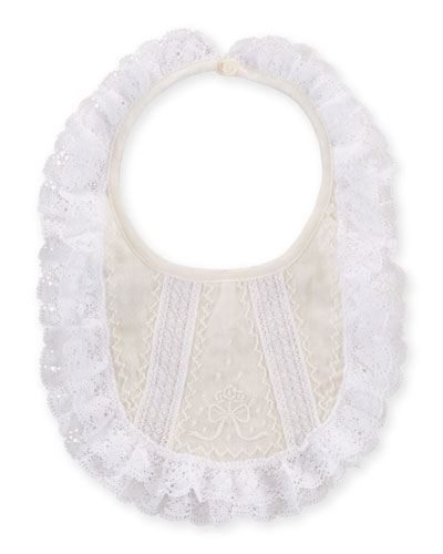 Lace-Trim Special Occasion Bib, White/Cream