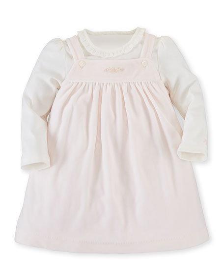Ralph Lauren Pima Velour Jumper & Bodysuit, Pink/White,