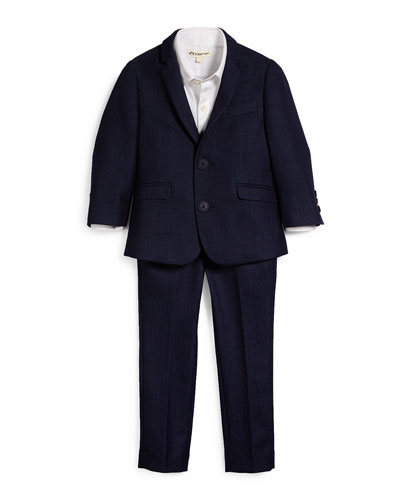 Herringbone Jacket & Pants Set, Navy, Size 2T-14