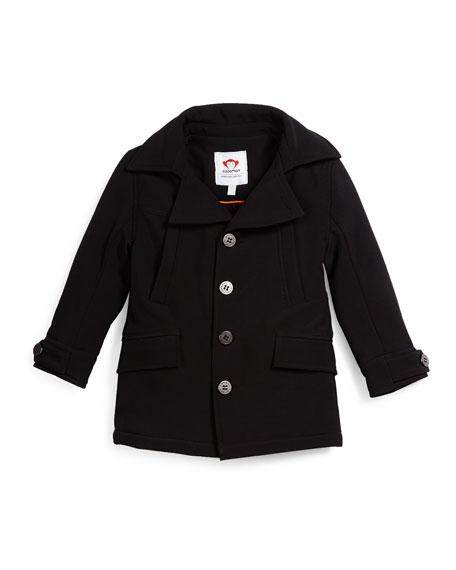 Appaman Empire Button-Front Ponte Coat, Black, Size 4T-14