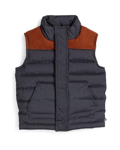 Faux-Suede-Trim Puffer Vest, Navy, Size 4-14