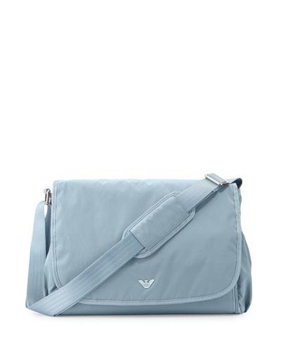 Basic Replen Diaper Bag w/ Changing Pad & Bottle Bag, Gray/Light Blue