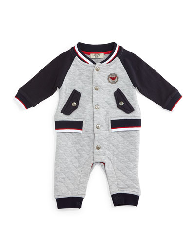 Tipped Illusion Coverall, Gray, Size 6-12 Months