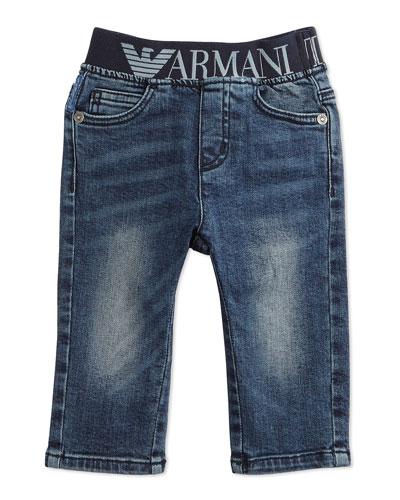 Stretch-Waist Faded Denim Jeans, Blue, Size 6-24 Months