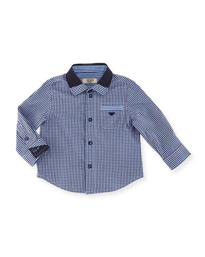 Long-Sleeve Gingham Poplin Shirt, Navy