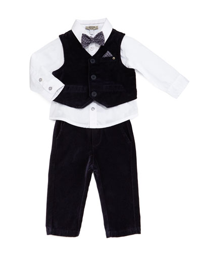 Four-Piece Layette Set, Indigo, Size 6-24 Months
