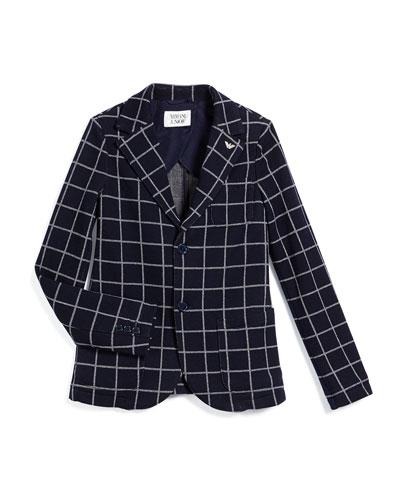 Check-Print Knit Blazer, Navy, Size 10-14