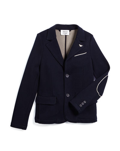 Contrast-Trim Knit Two-Button Blazer, Navy, Size 10-14