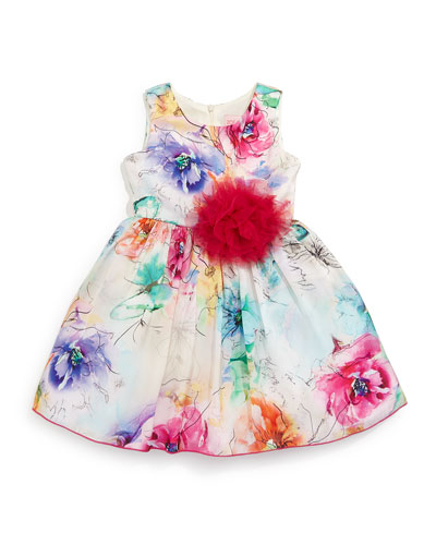 Sleeveless Floral A-Line Dress, White/Multicolor, Size 2-6X