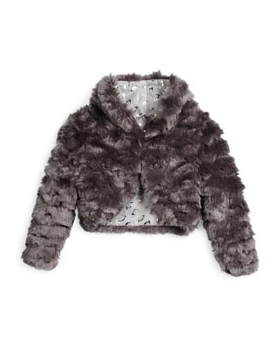 Open-Front Faux-Fur Bolero, Gray, Size 4T-14