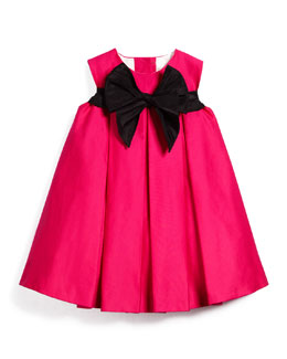 Pleated Sateen Shift Dress, Fuchsia, Size 12M-3T