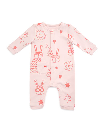 Cotton Bunny-Print Coverall, Pink, Size 3-12 Months