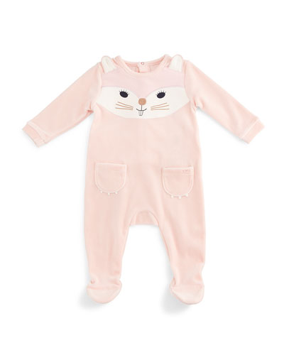 Cat-Face Velour Footie Pajamas, Pink, Size 3-9 Months