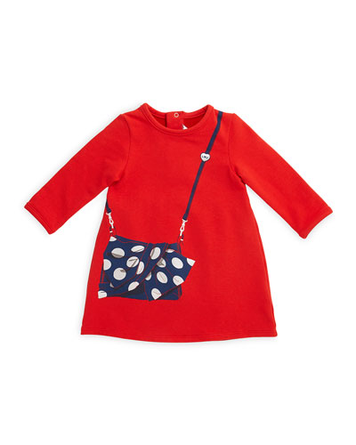 Long-Sleeve Tromp L'Oeil A-Line Dress, Red, Size 12M-3