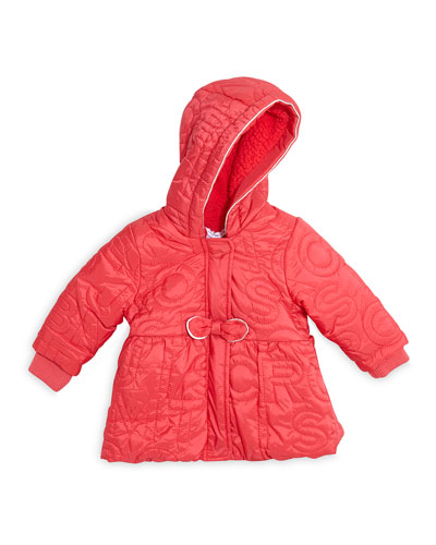 Logo-Embroidered Coat w/ Fleece Lining, Pink, Size 12M-3