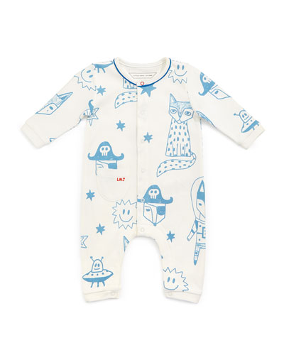 Cotton Fox-Print Coverall, White, Size 3-12 Months