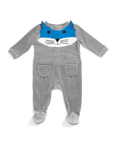 Fox-Face Velour Footie Pajamas, Gray, Size 3-9 Months