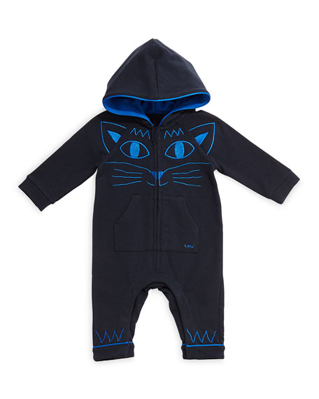 Little Marc Jacobs Hooded Coverall w/ Kitty Embroidery,