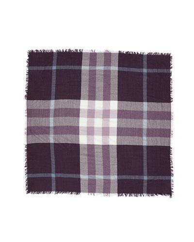 Check-Print Square Wool Scarf, Regency Purple