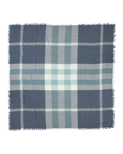 Square Check-Print Wool Scarf, Slate Blue