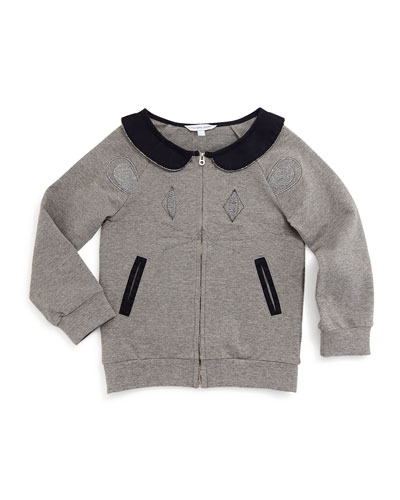 Zip-Front Mouse Sweater, Gray