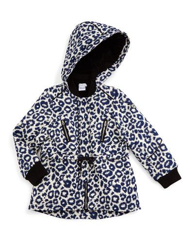 Leopard-Jacquard Hooded Jacket, Blue/White, Size 4-10